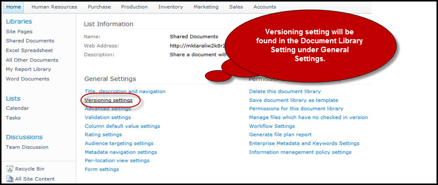Version-settings